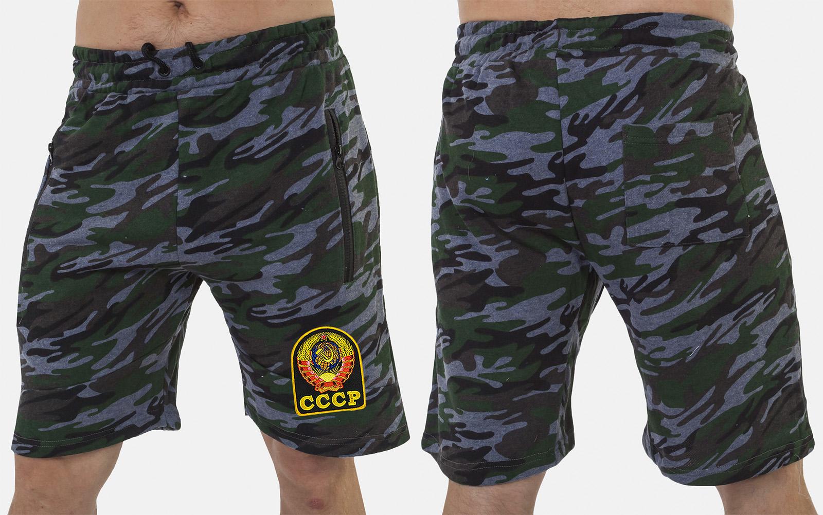 Оригинальные удлиненные шорты с карманами и нашивкой СССР - заказать по низкой цене