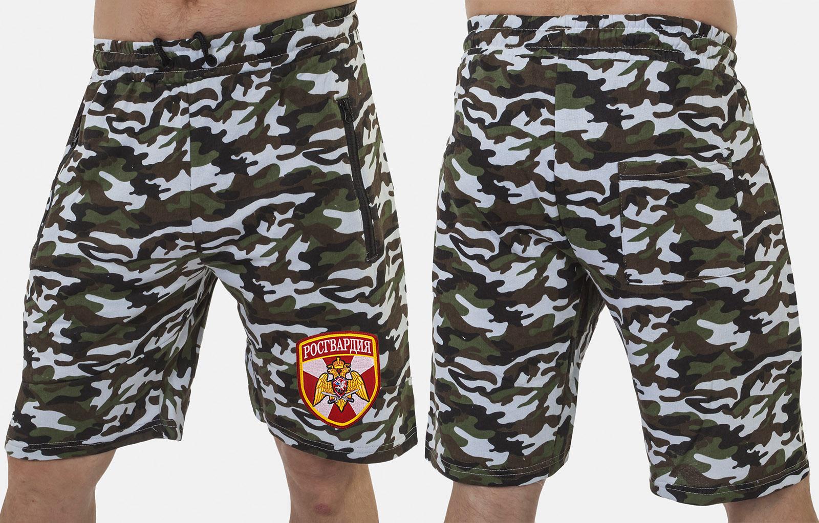 Особенные камуфляжные шорты с нашивкой Росгвардия - купить вы розницу
