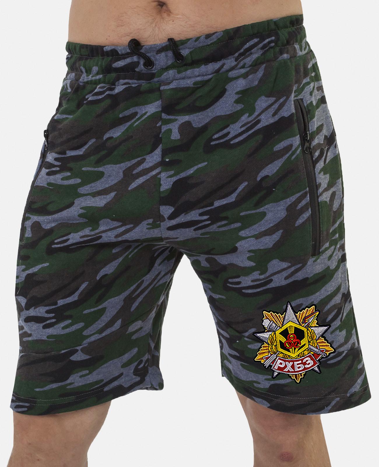 Купить особенные милитари шорты с карманами и нашивкой РХБЗ оптом или в розницу