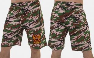 Особенные шорты удлиненного фасона с нашивкой Россия - заказать в подарок