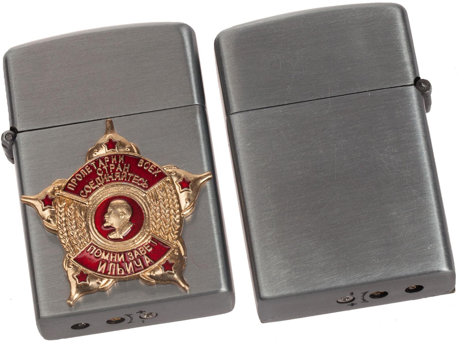 """Откидная зажигалка с накладкой """"Завет Ильича"""" по выгодной цене"""