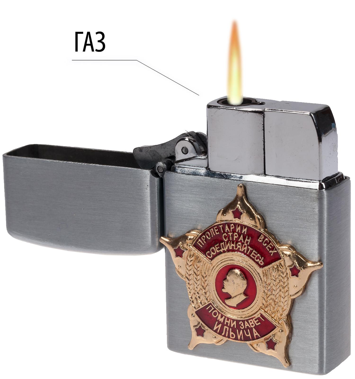 """Откидная зажигалка с накладкой """"Завет Ильича"""""""