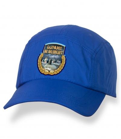 Отличная синяя кепка-пятипанелька с термонаклейкой БФ РФ