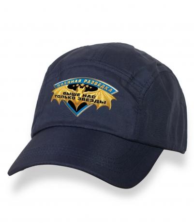 Отличная темно-синяя бейсболка с термонаклейкой Военная Разведка