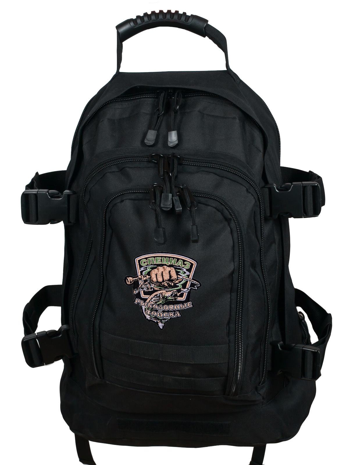 Отличный черный рюкзак с шевроном Рыболовных войск