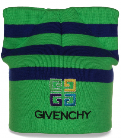 Отменная качественная шапка с ушками GIVENCHY в полоску для восхитительных девушек