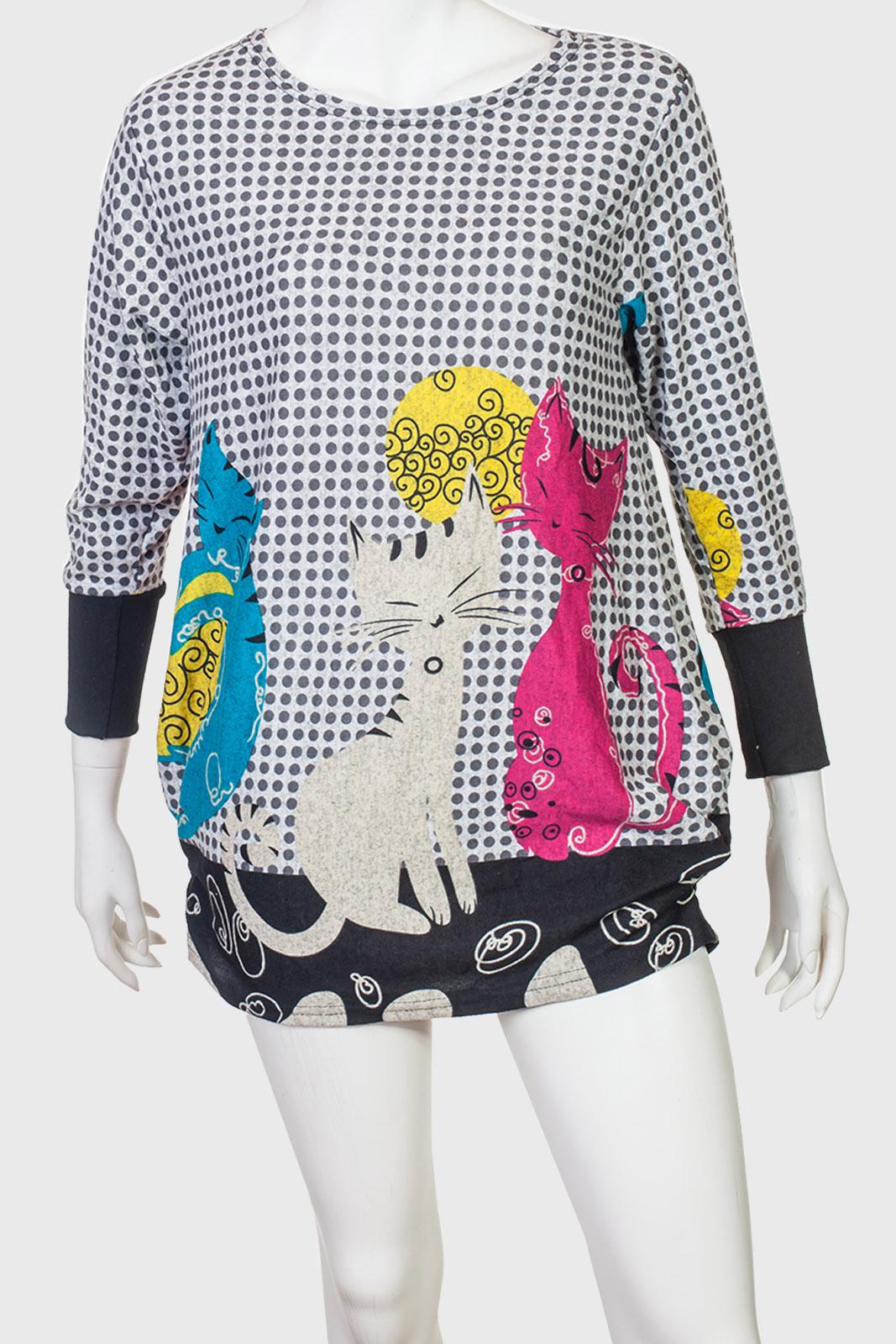 Озорное утепленное платье-туника с котиками