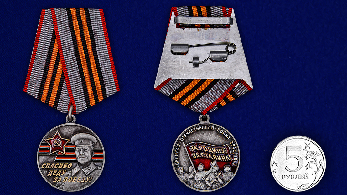 Памятная медаль к юбилею Победы в ВОВ «За Родину! За Сталина!» - сравнительный размер