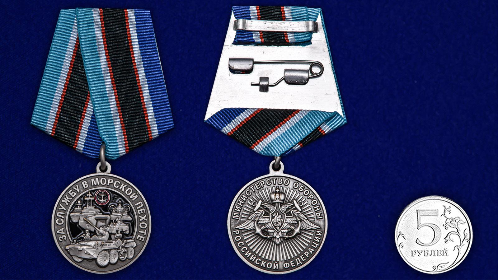 """Памятная медаль """"За службу в Морской пехоте"""" - сравнительный размер"""