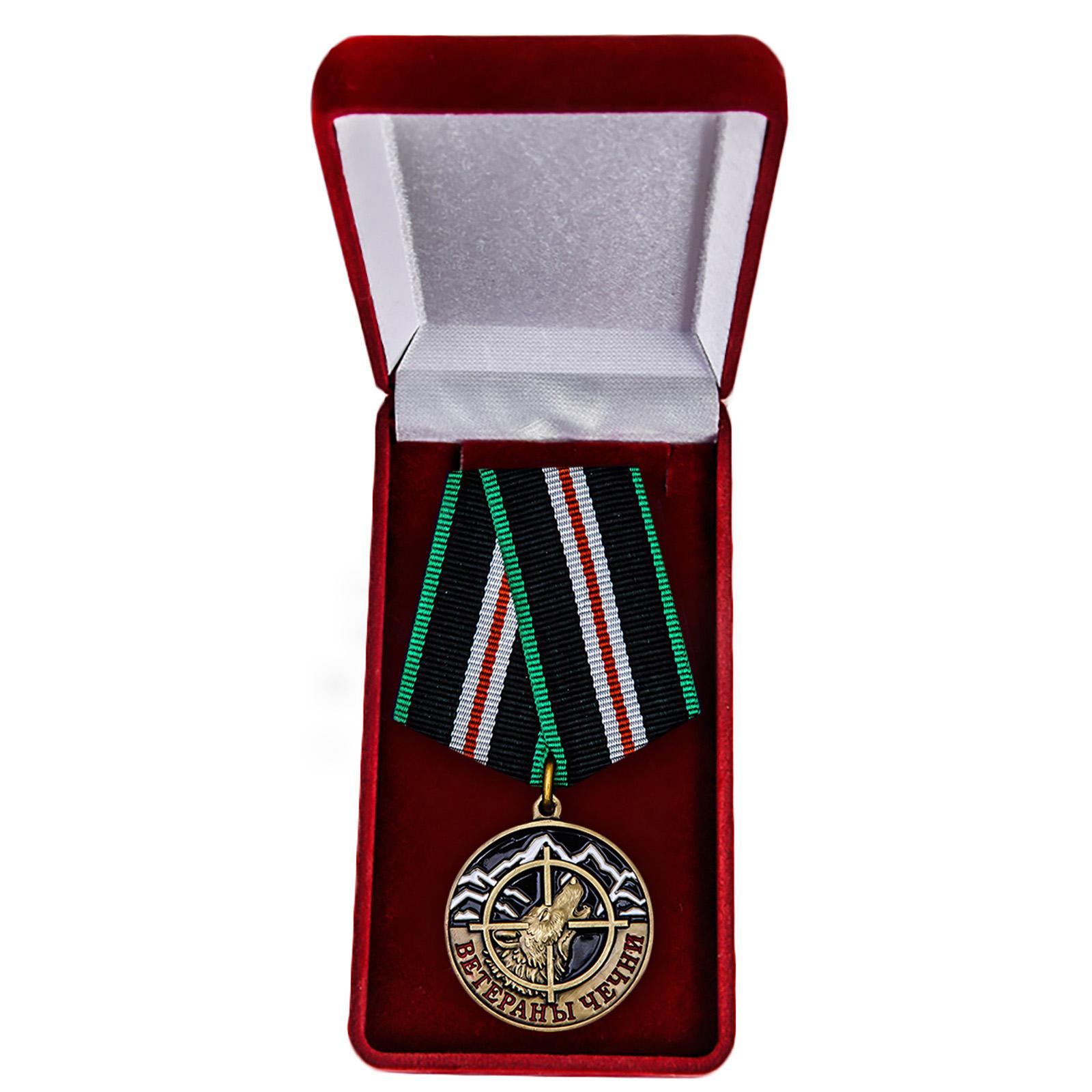 Памятная медаль Ветераны Чечни - в футляре