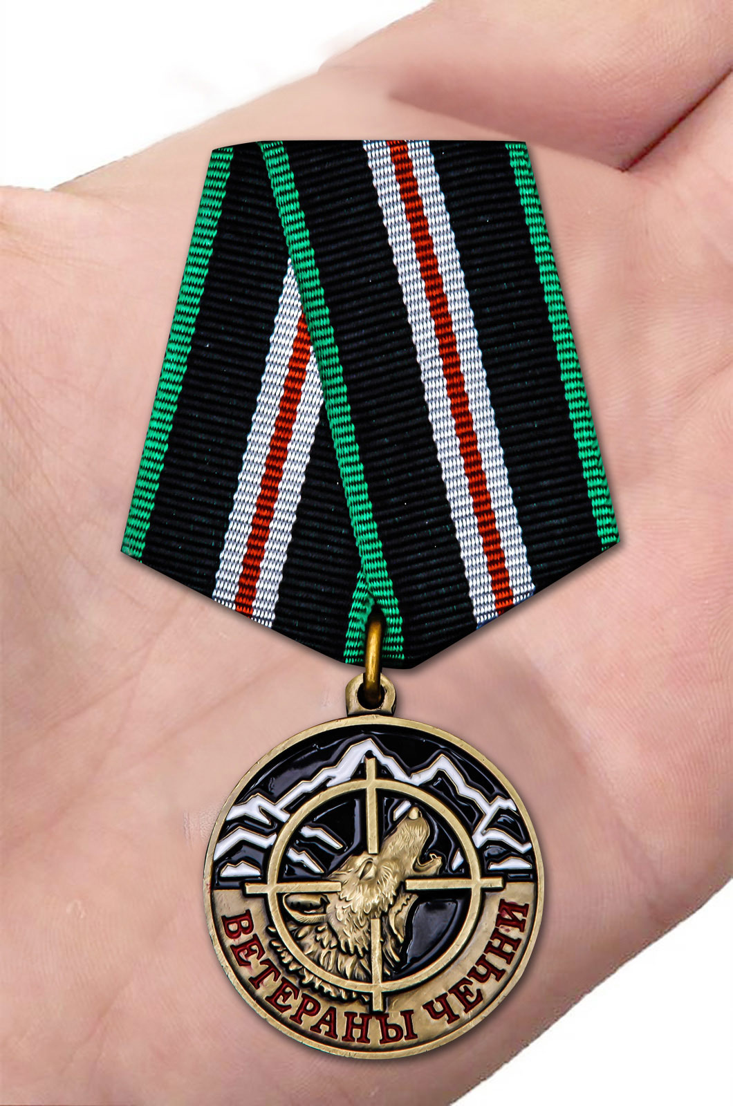 Памятная медаль Ветераны Чечни - вид на ладони