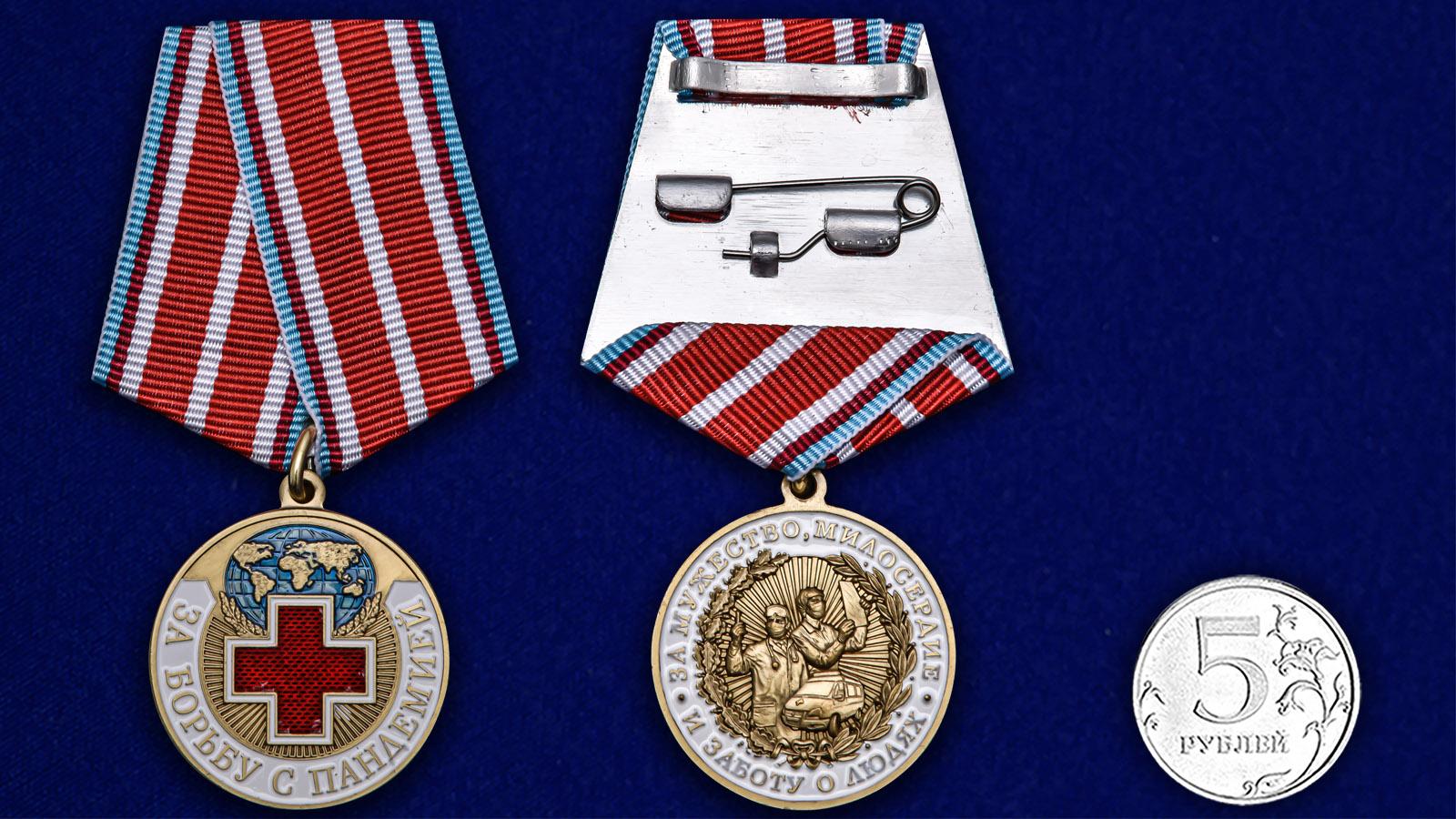 Памятная медаль За борьбу с пандемией - сравнительный вид