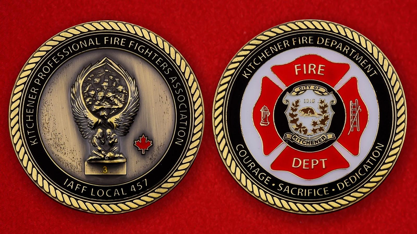 """Памятная монета """"Пожарная охрана Китченера, Канада"""""""
