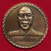"""Памятная монета с молодым Робертом Мугабе """"Секстиллион зимбабвийских долларов"""""""