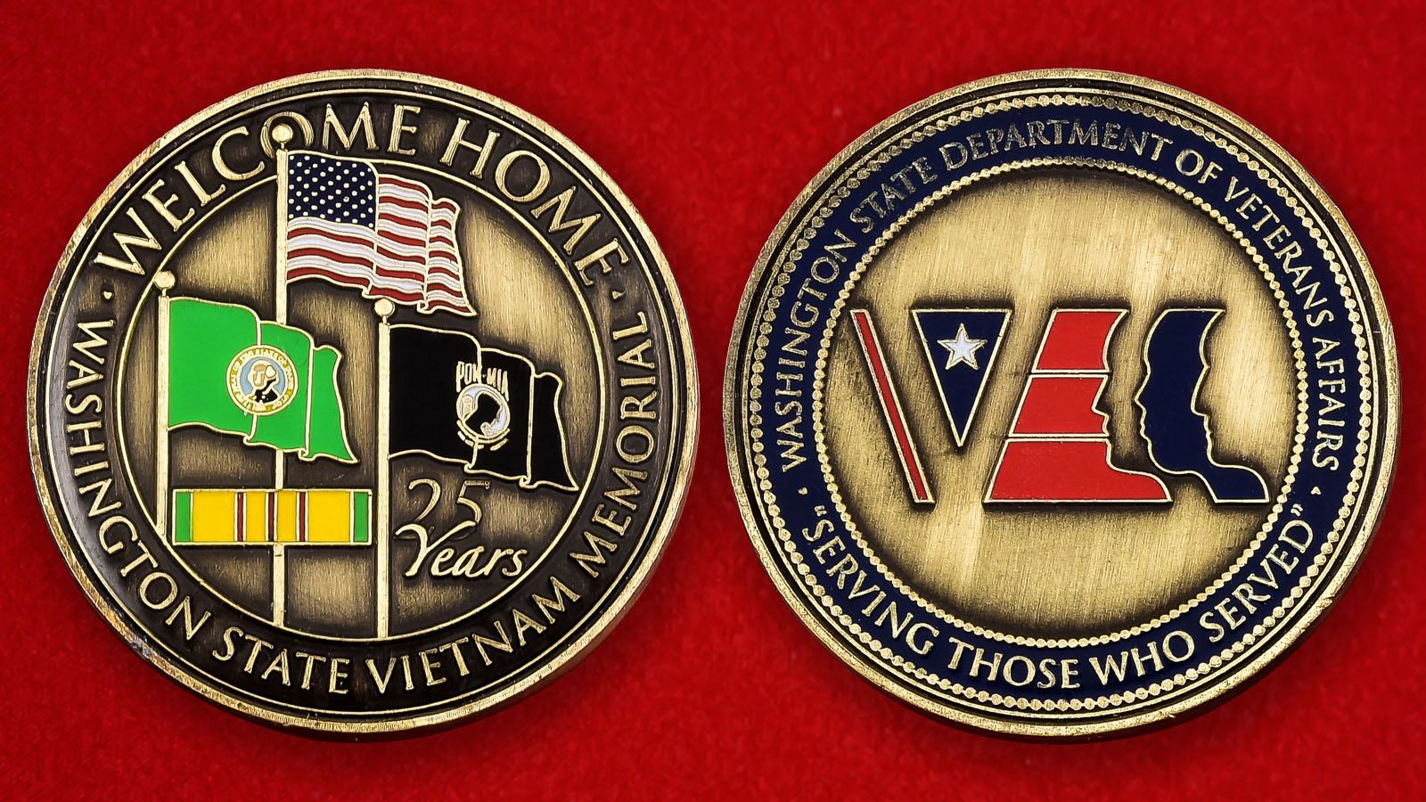 """Памятная монета США """"25 лет Мемориалу ветеранов Вьетнама в Вашингтоне"""""""