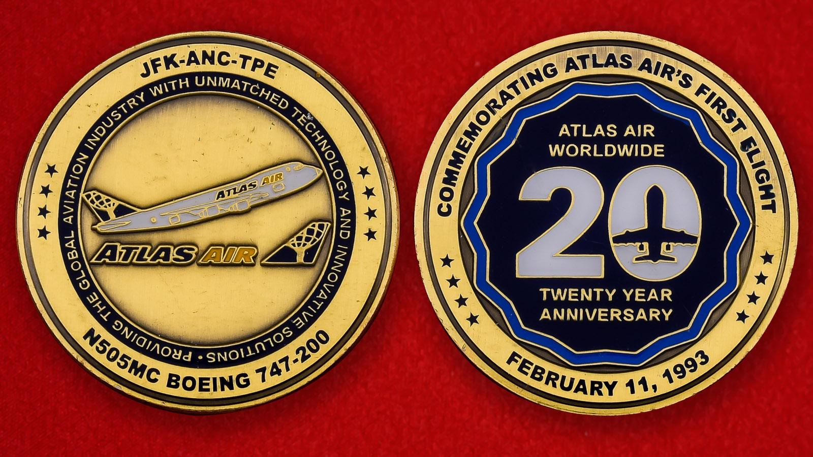"""Памятная монета США """"Первый рейс Boeing 747-200 компании Atlas Air"""""""