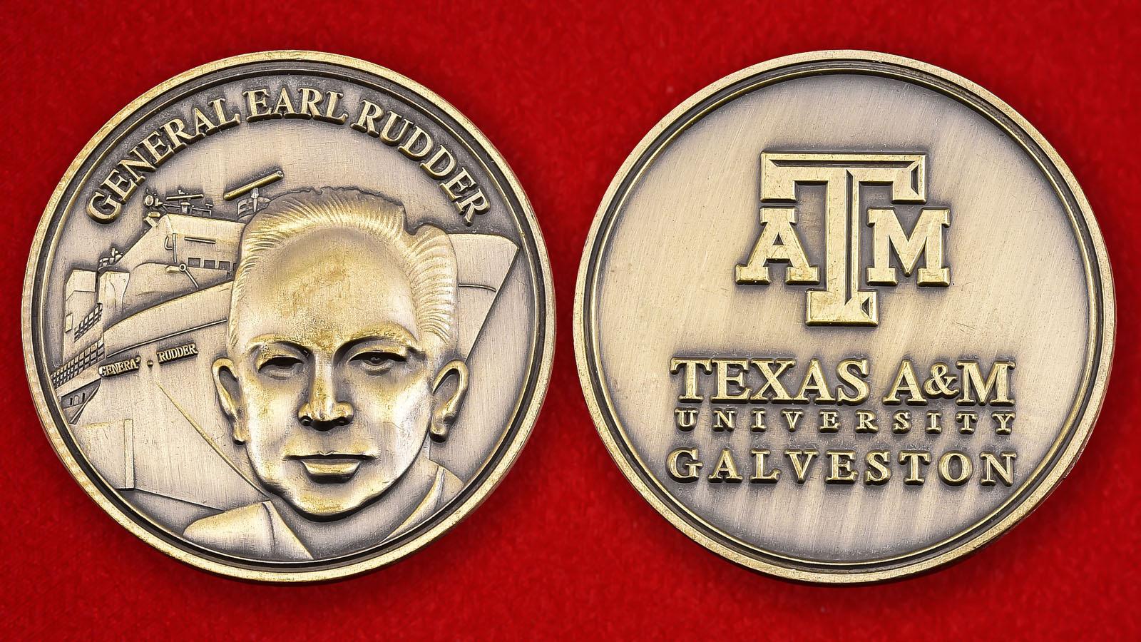 """Памятная монета Техасского унивеситета А&М-Галвестон """"Учебный корабль General Rudder"""""""