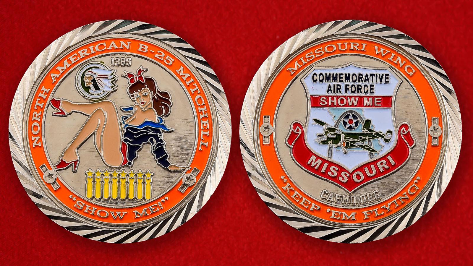 """Памятная монета  ВВС США """"Крыло Миссури Б-25 Митчелл"""""""