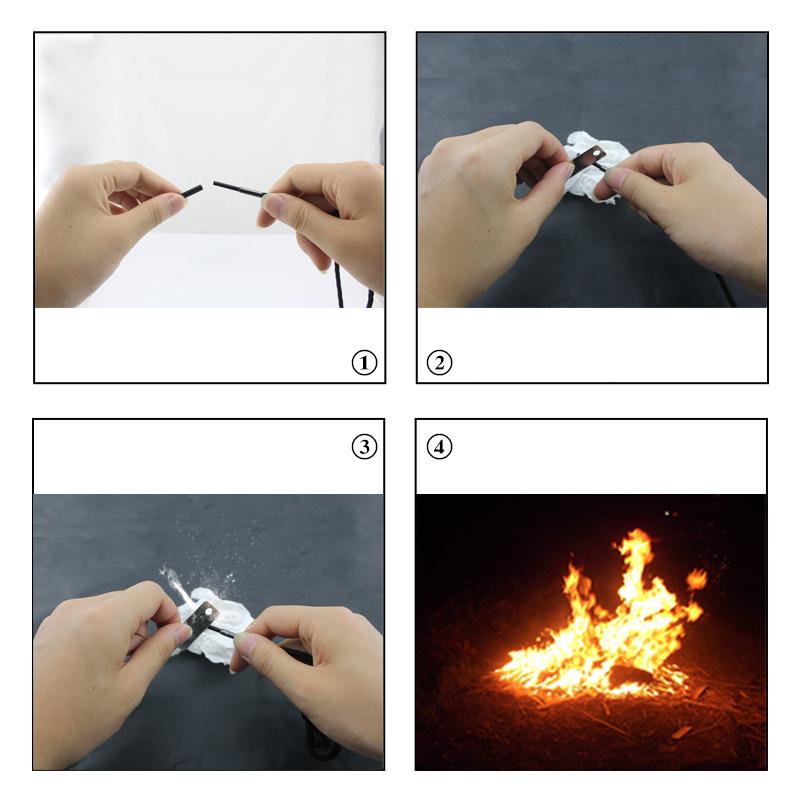 Паракордовые шнурки с огнивом для активного отдыха (черные)