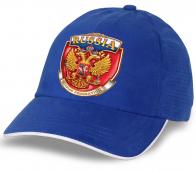 """Патриотическая бейсболка """"Russia"""" с гербом. Эффектная модель яркого цвета. Заказывай и выделяйся!"""