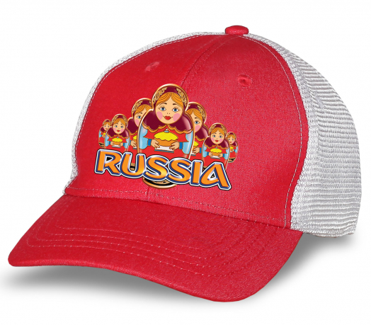 """Патриотическая бейсболка """"Russia"""" с матрешками. Популярная дизайнерская модель из 100% хлопка. Заказывай и будь в числе лучших!"""