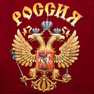 Патриотическая футболка с гербом России - авторский принт