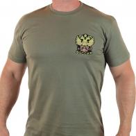 Патриотическая мужская футболка с вышитым гербом России