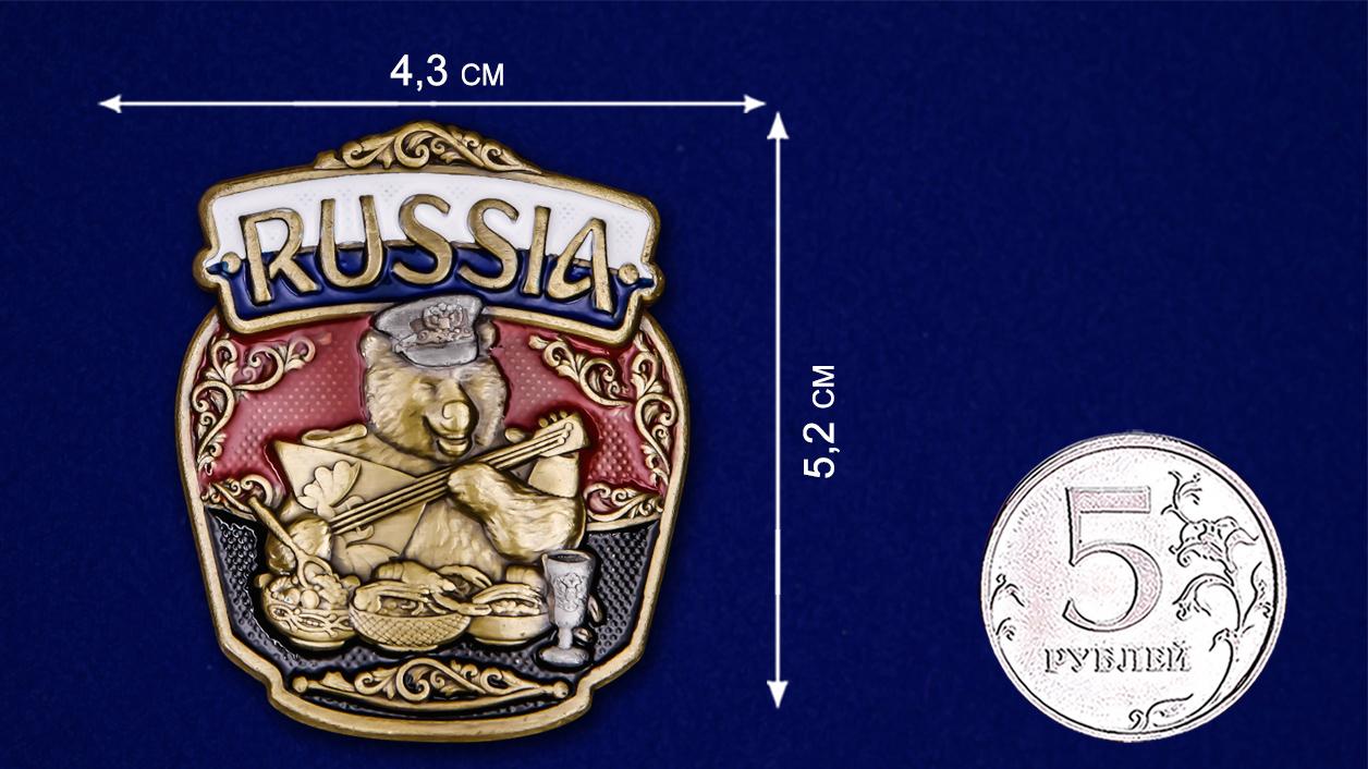 "Патриотическая накладка ""RUSSIA"" с медведем - размер"