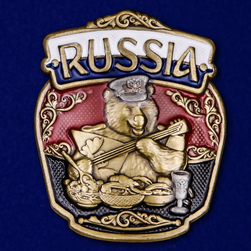 "Патриотическая накладка ""RUSSIA"" с медведем"