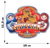 Патриотическая наклейка с русскими матрёшками (11,3x15 см)