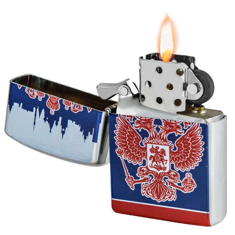 Патриотичная зажигалка с Гербом РФ