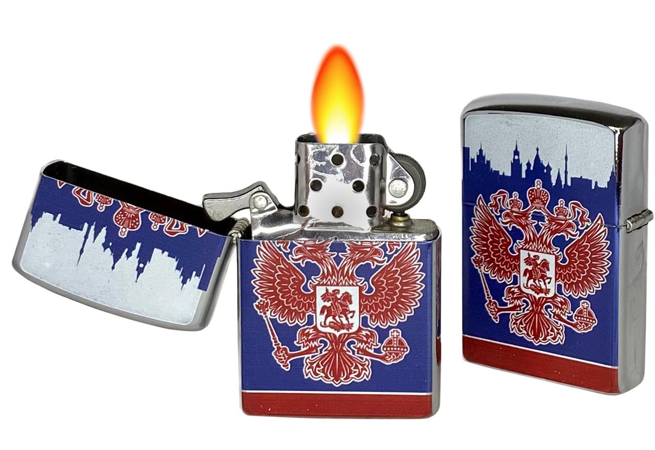 Патриотичная зажигалка с Гербом РФ купить  оптом в розницу
