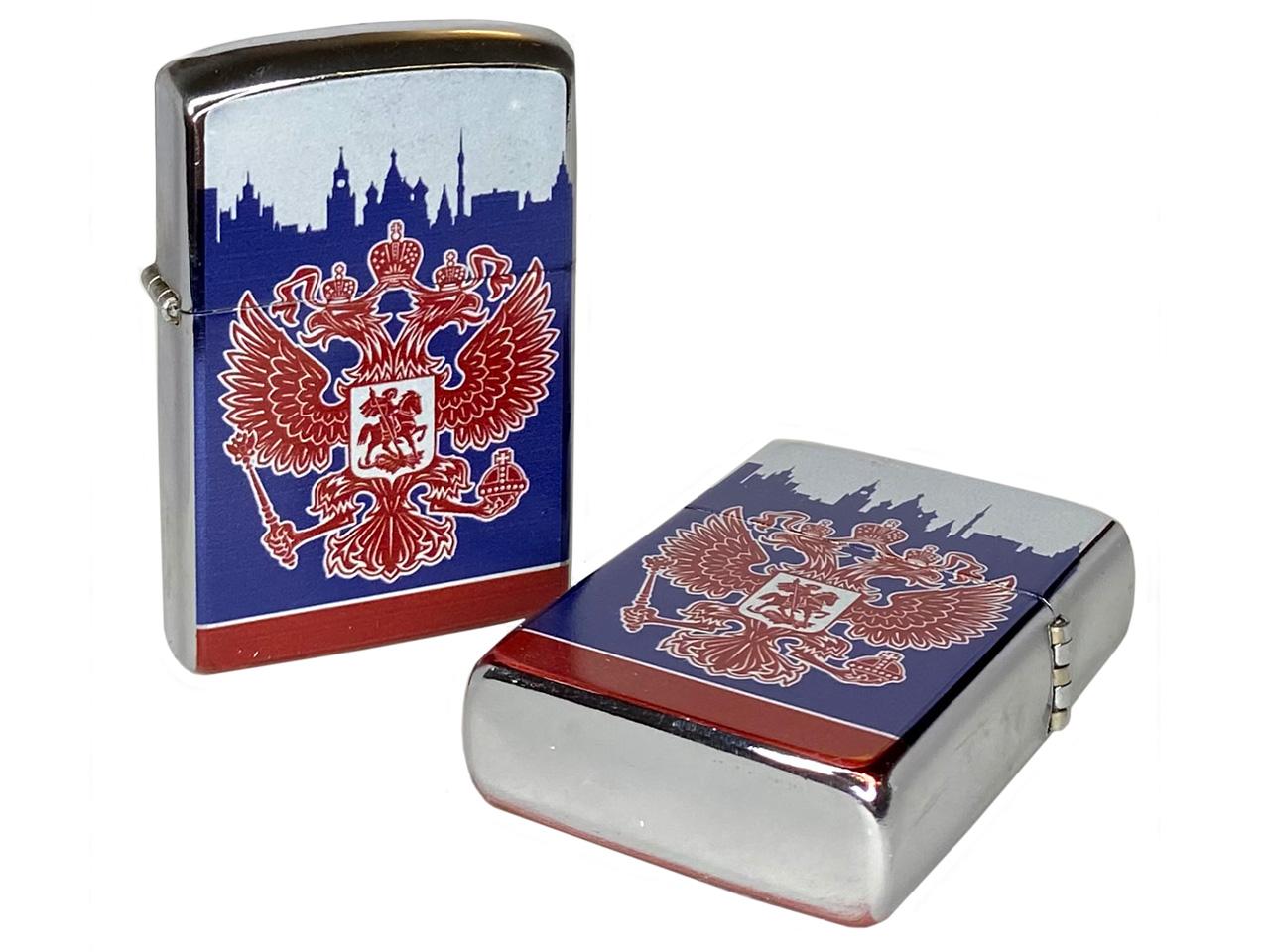 Патриотичная зажигалка с Гербом РФ купить с доставкой