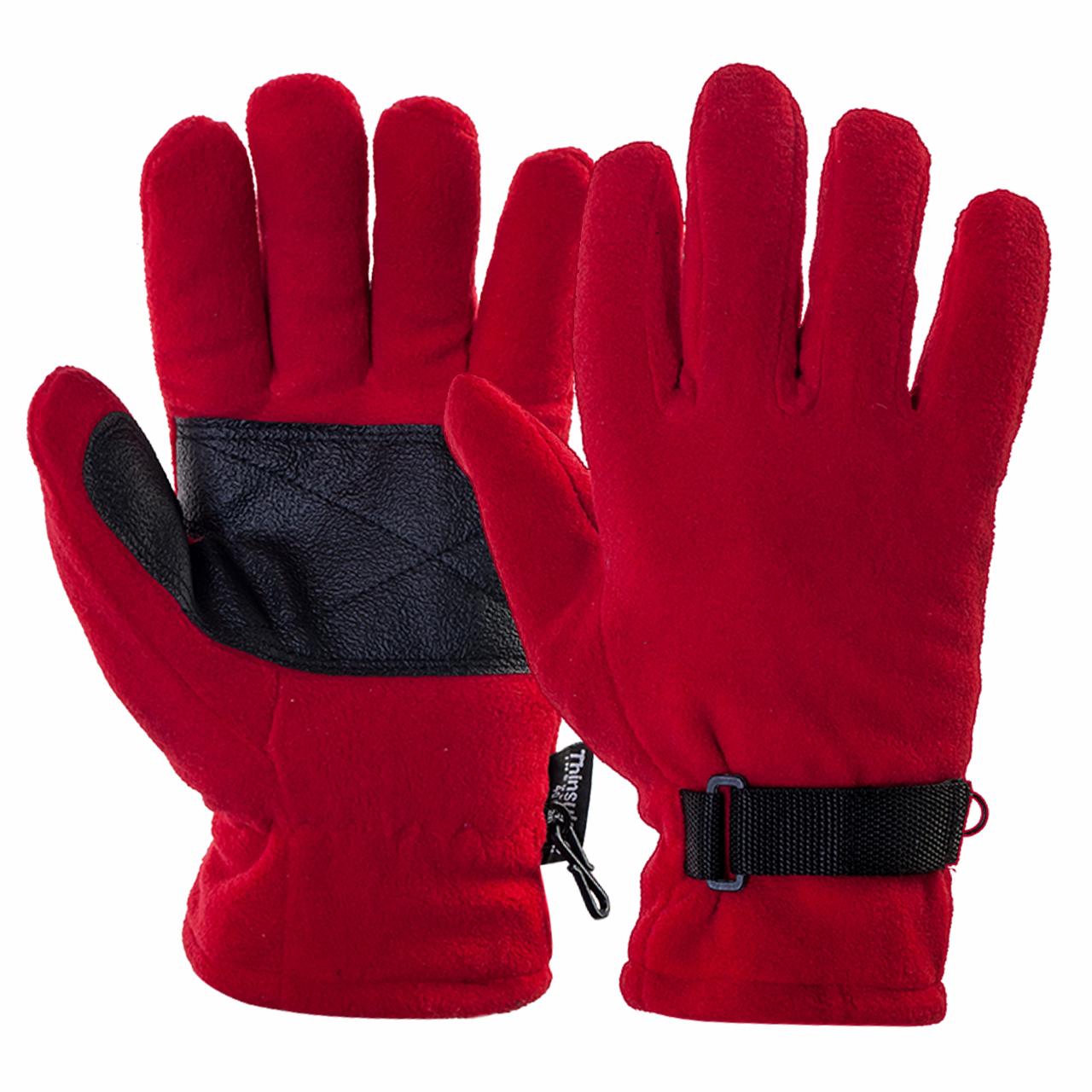 Перчатки красного цвета (флис + тинсулейт)