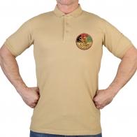 Песочная мужская футболка-поло с термотрансфером Афган