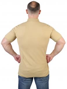 Песочная мужская футболка-поло с термотрансфером ГСВГ