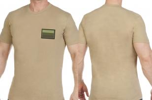 Песочная мужская футболка с вышитым полевым шевроном России - заказать онлайн
