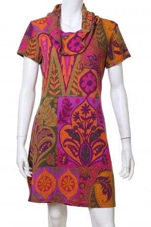 Пестрое узкое мини-платье с воротом-складкой