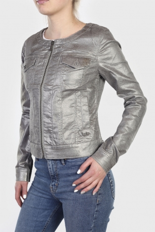 Короткая женская куртка-пиджак LPB металлик.