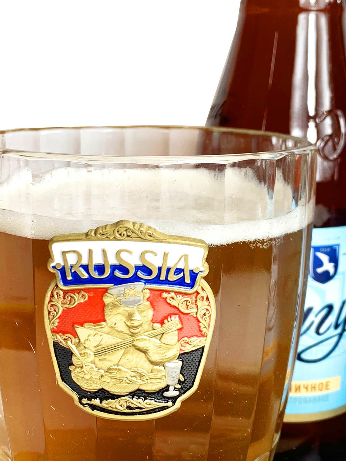 Пивная кружка с надписью Россия