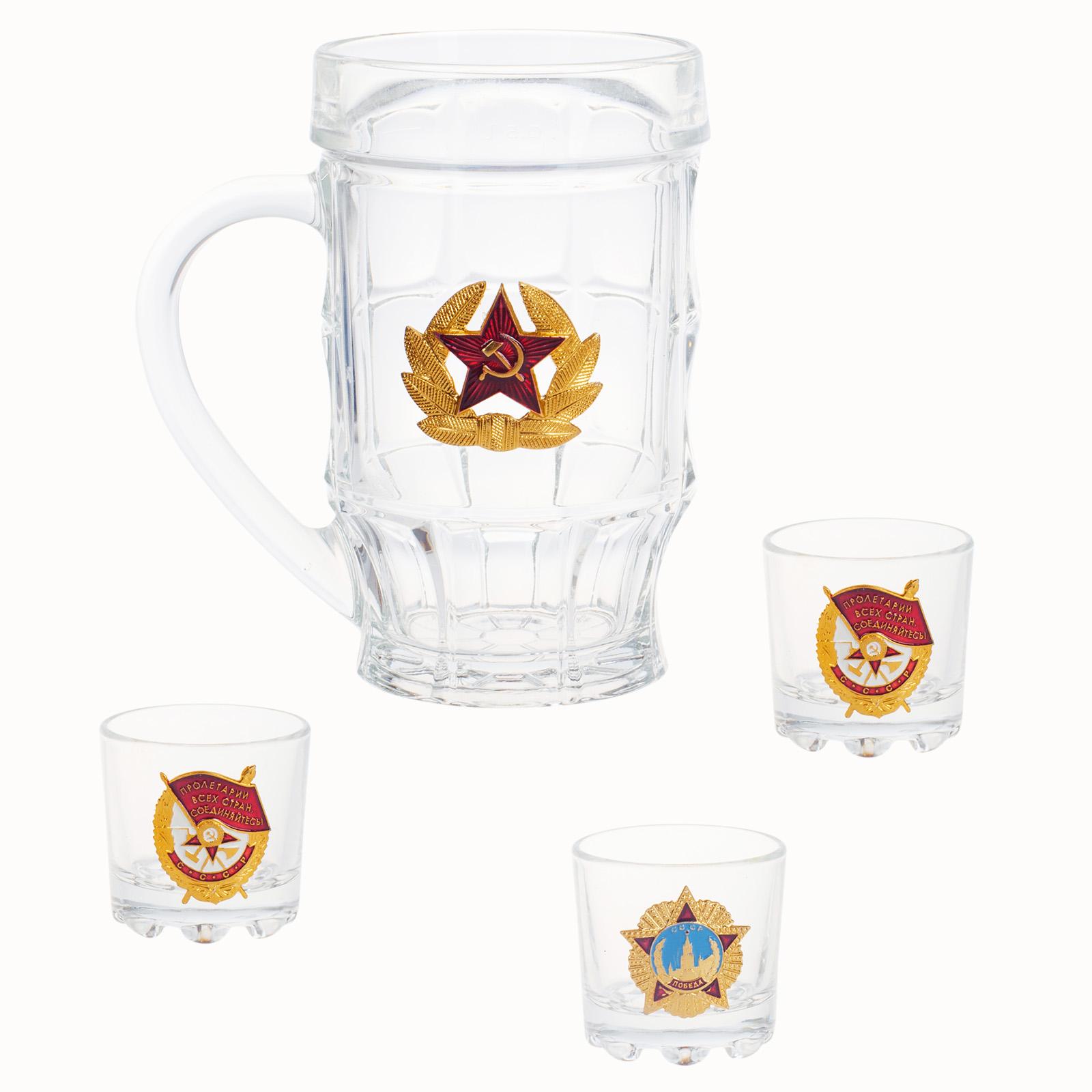 """Пивная кружка """"Советская Армия"""" и 3 стопки в подарочном наборе по выгодной цене"""