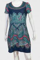 Бирюзовое платье с восточным орнаментом Paisley.