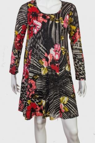В стиле ретро! Платье-трапеция с цветочным принтом