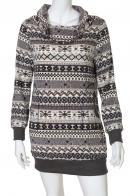 Платье-туника с имитацией вязанного принта