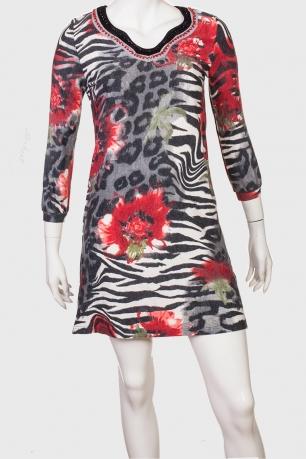 Платье-туника с нежным принтом от Mechant