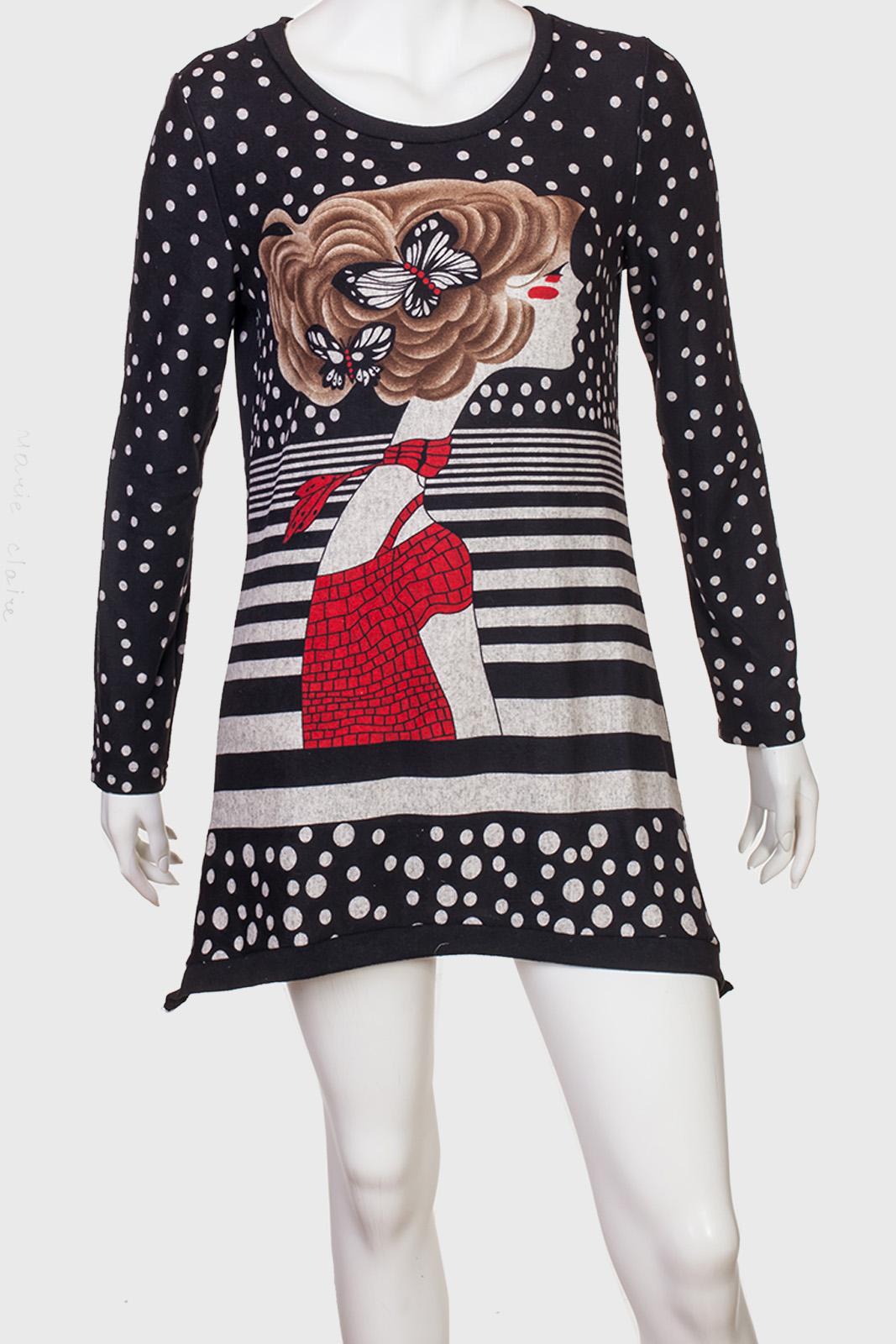Платье-туника в горох от Marie Claire.