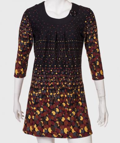 Платье в разноцветный горох