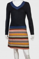 Приталенное женское платье в стиле «Колор блокинг».