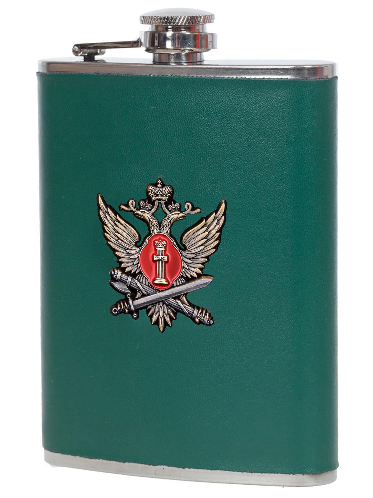 Плоская фляжка в чехле с жетоном ФСИН - высокое качество