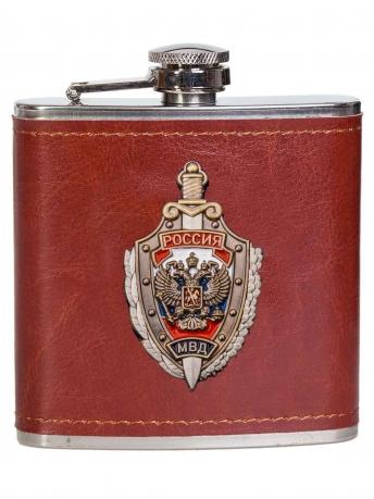 Плоская карманная фляжка в чехле МВД России